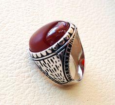 liver agate carnelian yemeni aqeeq ring sterling silver 925