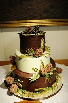 Fall wedding cake -- could dip real pine cones in melted chocolate.