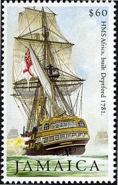 Stamp: HMS Africa (Jamaica) (Bicentenary of the Battle of Trafalgar issue)) Mi:JM Postage Stamp Collection, Ship Paintings, Postage Stamp Art, Wooden Ship, Vintage Stamps, Commonwealth, Stamp Collecting, Sailing Ships, Boats