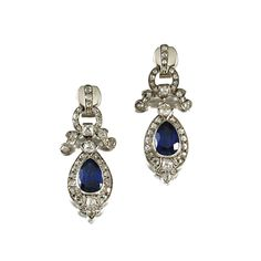PAIR OF SAPPHIRE AND DIAMOND EAR PENDANTS Each suspending a pear-shaped sapphire within a border of circular-cut diamonds to similarly set stylised ribbon surmounts, post and butterfly fittings.