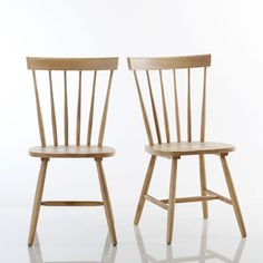 JIMI Solid Wood Ladder-Back Chairs (Set of LA REDOUTE INTERIEURS .This classic chair design gets a Scandinavian update thanks to the simplicity of design and chosen material. Kitchen Table Chairs, Dinning Chairs, Bar Chairs, Dining Room, Modern Furniture, Home Furniture, Solid Oak Dining Table, Ladder Back Chairs, Wood Ladder