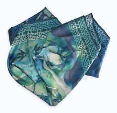METAMORPHOSIS I TURQUOISE. Silk scarf hand by CAROLINAPUIVECINO