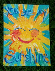 You Are My Sunshine Textured Original Painting by YelliKelli, $30.00