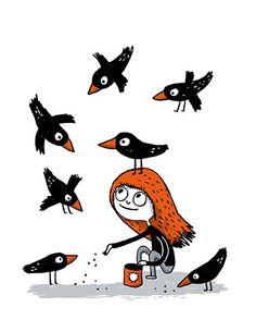 Fillette aux corneilles * Elise Gravel * Art * Illustration