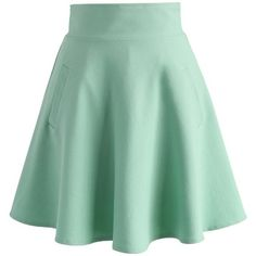 Chicwish Ought to Be A Green Skater Skirt (355 SEK) ❤ liked on Polyvore featuring skirts, green, green skirt, flared skirt, green circle skirt, skater skirts and circle skirt