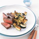 Steak with Golden Zucchini Recipe | MyRecipes.com