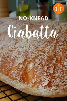 Küchenchef Johns No-Knead Ciabatta - Best of Breads - Bread Artisan Bread Recipes, Sourdough Recipes, Banana Bread Recipes, Italian Bread Recipes, Easy Bread, Keto Bread, Bread Baking, Bread Food, Homemade Ciabatta Bread