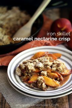 This Iron Skillet Caramel Nectarine Crisp is anything but ordinary! Slices of fresh nectarines are tossed with allspice and caramel before being topped with a crumble that includes crushed gingersnap cookies. Recipes Using Fruit, Snack Recipes, Dessert Recipes, Baking Recipes, Snacks, Homemade Desserts, Delicious Desserts, Sweet Desserts, Yummy Food