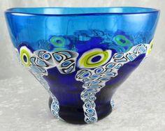 Fratelli Toso Glassworks Murano Italy Art Glass Bowl Blue Yellow Murrina Cane