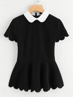 SheIn offers Contrast Peter Pan Collar Scallop Peplum Top & more to fit your fashionable needs. Girl Fashion, Fashion Outfits, Womens Fashion, Fashion Design, Harajuku Fashion, Kawaii Fashion, Cheap Fashion, Fashion Trends, Peplum Tops