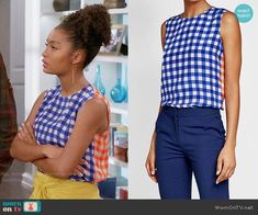Zoey's two-tone gingham top on Black-ish. Outfit Details: https://wornontv.net/82684/ #Blackish