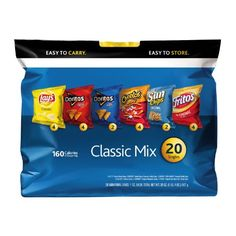 Frito-Lay Chips Classic mix Multipack, 20 Count by Frito Lay    363 customer reviews  | 8 answered questions Flavor:  Classic Mix  Size: 20 Count Price:	$5.98 ($0.30 / count) & FREE Shipping on orders over $35. Details In Stock. Ships from and sold by Amazon.com. Want it Monday, Oct. 20? Order within 32 hrs 56 mins and choose One-Day Shipping at checkout. Details