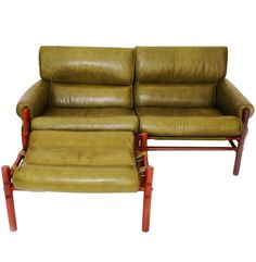 "Mid-Century Olive Green Arne Norell ""Kontiki"" Safari Settee and Ottoman 