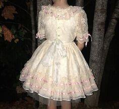 VTG Sweet N Sassy Party Dress Circle Little Girls Sheer Ruffles Bell Ivory Pink  | eBay Pink Dress, Blue Dresses, Vintage Girls Dresses, Baby Girl Party Dresses, Circle Dress, Sweet Dress, Pink Lace, Victorian Fashion, Sassy