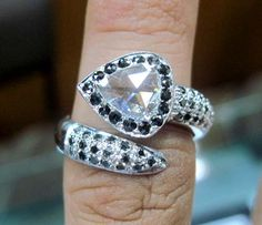 Awesome Rose Cut & Black Diamond Ring - Perfect Christmas Gift