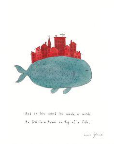 Logo Idee: Hamburg auf dem Rücken eines Fisches