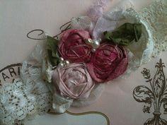 Vintage Cranberry Rosette newborn headband by CozetteCouture, $24.99