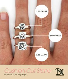 A great visual to help you decide what your #perfect Cushion cut size is!