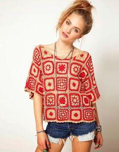 Sweet And Lovely Best Knitting Top Pattern Ideas Part crochet top pattern; crochet top plus size; Beau Crochet, Pull Crochet, Gilet Crochet, Mode Crochet, Crochet Blouse, Knit Crochet, Single Crochet, Crochet Pillow, Blanket Crochet