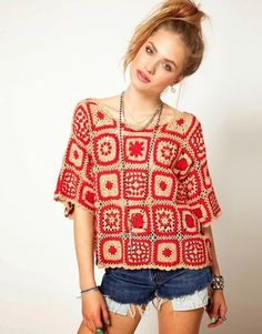 Inspiration only.  Nice use of grannies on this site! Granny Square Chic Top: Pink Mink
