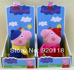 new  2014 winter  peppa pig toys george pigs with scarf  george peppa pig with coat can be taken off  for kid sale $15.75