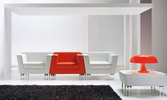 Ideal for waiting areas, conference rooms and visitors, In-Out is more than a simple sofa: it plays with shapes to impart a new personality to a traditional element of our living rooms, while also allowing new combinations with modular, matching parts, to form the armchair or sofa of our dreams.