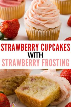 These strawberry cupcakes are moist, flavorful, and loaded with fresh strawberries! To make perfect strawberry cupcakes for any occasion, frost them with either strawberry buttercream, strawberry cream cheese frosting, or strawberry whipped cream. #Strawberry #Cupcakes #Frosting