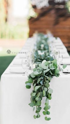 Simple rustic wedding guest table with eucalyptus table runner for reception wedding decorations Rectangular Oblong Polyester Tablecloth - White Simple Wedding Reception, Wedding Guest Table, Wedding Decorations On A Budget, Simple Weddings, Wedding Ideas, Trendy Wedding, Reception Ideas, Wedding Themes, Wedding Favors