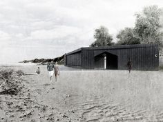 Image 17 of 27 from gallery of Chicago Architecture Biennial Announces Lakefront Kiosk Winners. Courtesy of The Chicago Architecture Biennial Timber Roof, Chicago, Garden Pavilion, Kiosk Design, Timber Structure, Ancient Ruins, Garden Fencing, Black Walls, School Architecture
