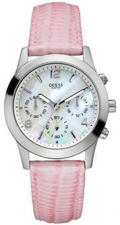 Guess Pink Leather Chronograph Ladies Watch