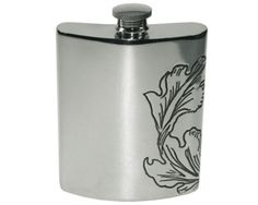 National Trust Kidney Hip Flask - e Hip Flask design is inspired by Arts and Crafts wallpaper found at The National Trust's Wightwick Manor, this National Trust Official Licensed Hip Flask is suitable for engraving on the front only.