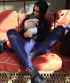 .@bellahadid loves her Alo Moto Leggings and you will too.