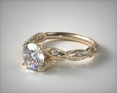 Vintage Milgrain Navette Diamond Pave Engagement Ring in Yellow Gold (Setting Price) Engagement Ring Styles, Designer Engagement Rings, Vintage Engagement Rings, Vintage Rings, Diamond Engagement Rings, Diamond Rings, Oval Engagement, Oval Diamond, Wedding Ring Designs