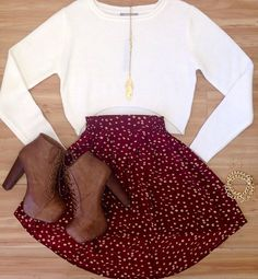Crop top, high waisted skirt, and some booties!