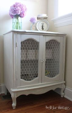 chicken wire cabinet front