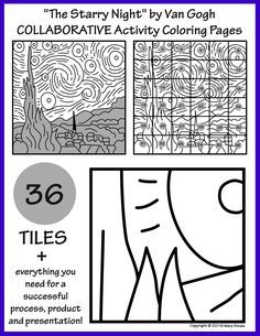 The Starry Night By Van Gogh Collaborative Activity Coloring Pages Collaborative Art Projects For Kids Collaborative Art Projects Collaborative Art