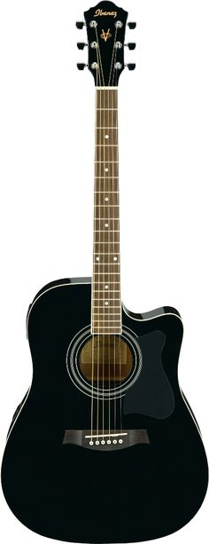 Ibanez V70CEBK electric acoustic cut away Ohh, man I love black acoustic guitars <3