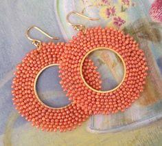 Hoop Earrings   Cantaloupe Seed Bead Hoop Earrings by WorkofHeart