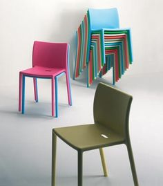 Magis Jasper Morrison Air chairs Colours: Orange, Brick, Fuchsia, Bright Green, Beige, Dark Green, Black, White (Ivory),