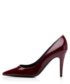 Stylish red patent leather heels.