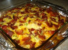Breakfast casserole - sausage links, cheese, bacon, eggs ...