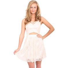 Pilot Reyna Lace Cut Out Front Skater Dress ($30) ❤ liked on Polyvore featuring dresses, pink, lace cocktail dress, summer party dresses, party dresses, pink summer dresses and going out dresses