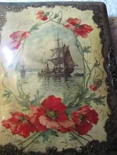 Victorian Celluloid Photo Album - Ship at Anchor
