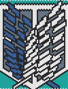 Survey Corps Attack On Titan Kandi Pattern Pony Bead Patterns, Kandi Patterns, Hama Beads Patterns, Alpha Patterns, Peyote Patterns, Beading Patterns, Cross Stitch Art, Cross Stitch Patterns, Granny Square Projects