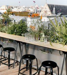 Arts et Métiers: An Industrial-Cool Hotel in Paris, Redone in Terrazzo and Marble - Remodelista Terrazzo, Rooftop Paris, Rooftop Design, Restaurant Paris, Glass Restaurant, Small Restaurants, Paris Restaurants, Rooftop Garden, Paris Hotels