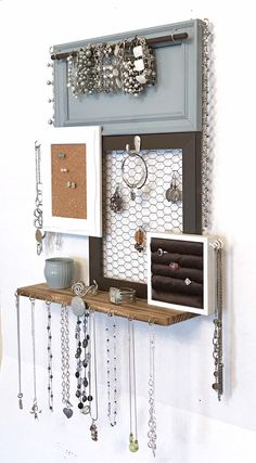 Excited to share this item from my shop: Wall mounted jewelry organizer an. - Excited to share this item from my shop: Wall mounted jewelry organizer and display - Diy Jewelry Unique, Diy Jewelry To Sell, Diy Jewelry Holder, Handmade Jewelry, Necklace Holder, Diy Jewelry Tree, Jewelry Making, Hanging Jewelry, Wall Mount Jewelry Organizer