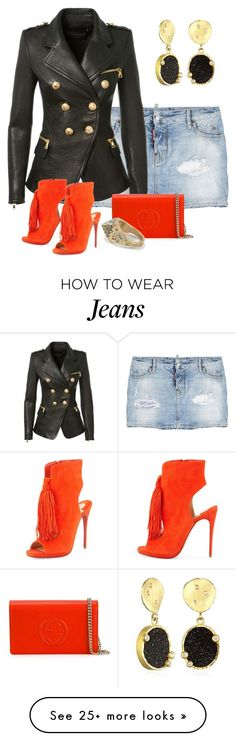 """Untitled #2021"" by anfernee-131 on Polyvore featuring Dsquared2, Balmain, Christian Louboutin, Gucci, women's clothing, women's fashion, women, female, woman and misses"