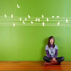 Create the right mood with this beautiful bird wall decals. These giant vinyl wall stickers feature birds relaxing on a wire. The bird wall decals fit any space in your home, you can easily apply them in your bedroom, living room or home entrance and you have the freedom to place the bird wall stickers in various positions on your walls.