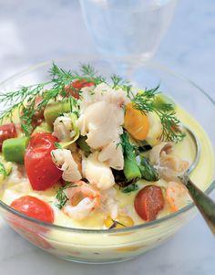 Lchf, Fish Dishes, Fish And Seafood, Pasta Salad, Low Carb Recipes, Potato Salad, Shrimp, Paleo, Ethnic Recipes