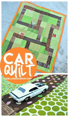 Sewing For Kids a quilt.for boys.sewing up this adorable kids car quilt - A girl and a glue gun - A super cute quilt that can used to cuddle when they are little.and then as an activity mat when they are older! Learn to sew this car quilt! Sewing Basics, Sewing Hacks, Sewing Crafts, Sewing Ideas, Sewing Toys, Kid Crafts, Cute Quilts, Boy Quilts, Sewing For Kids